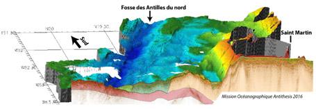 Vue 3D de l'imagerie bathymétrique et sismique acquise au cours de la campagne  Antithesis 3